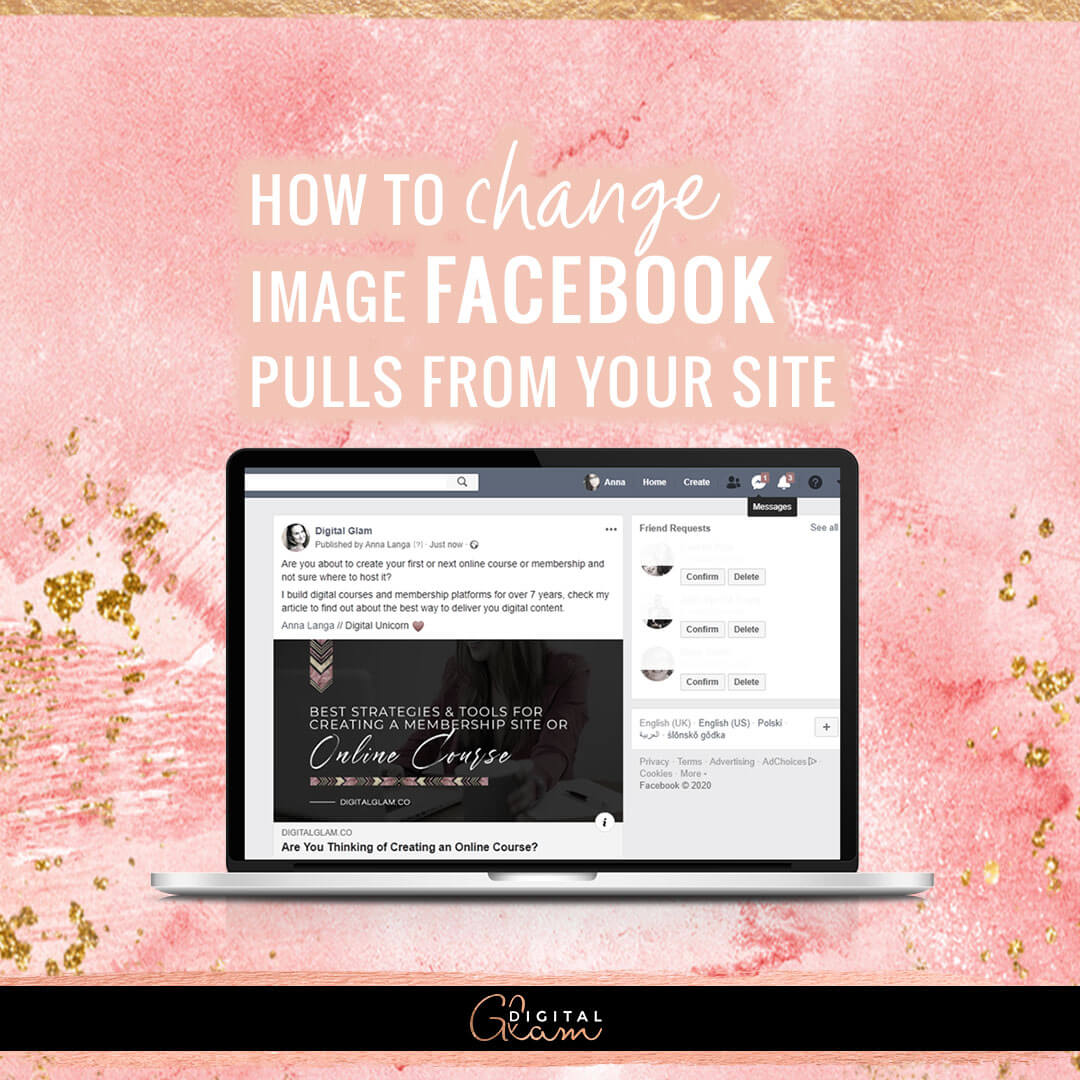Digital Glam blog - how to change image Facebook pulls from your site